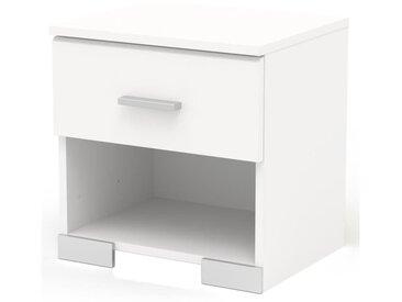 COSMOS Chevet avec 1 tiroir - Contemporain - Décor blanc - L 39,5 cm