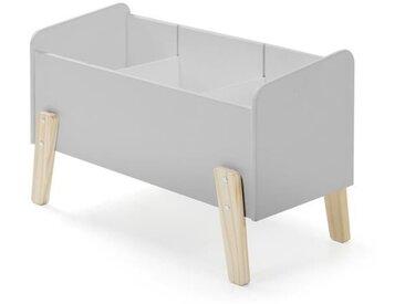 KIDDY Coffre à jouets scandinave en bois pin massif gris cool - L 80 cm
