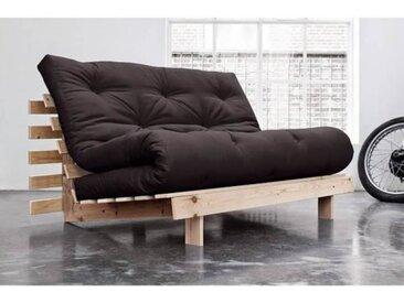 Canapé convertible futon ROOTS pin naturel coloris gris foncé couchage 140*200 cm. gris Tissu Inside75