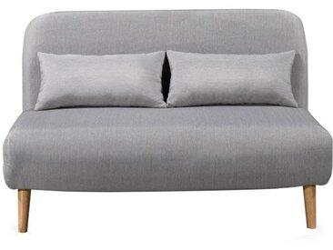 BEDZ Banquette BZ 2 places - Tissu gris clair - Scandinave - L 132 x P 90 cm