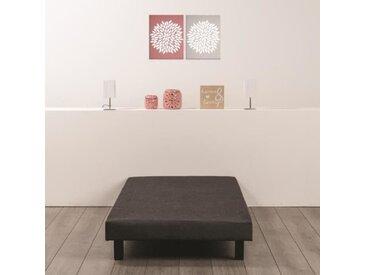 Sommier tapissier à lattes 90 x 200 - Bois massif gris anthracite + pieds bois verni clair - DEKO DREAM Rakenne