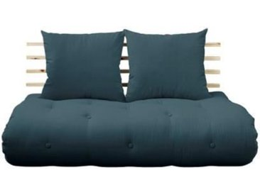 Canapé lit futon SOLVEIG bleu pétrole et pin massif couchage 140*200 cm. vert Tissu Inside75