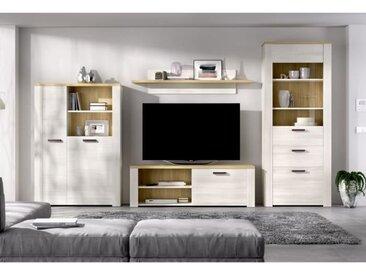 Ensemble Meuble TV - Décor chêne clair et naturel - L 309 x P 40 x H 188 cm - SIENA