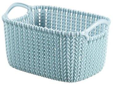 CURVER Panière de rangement rectangulaire Knit 3 L tricot bleu