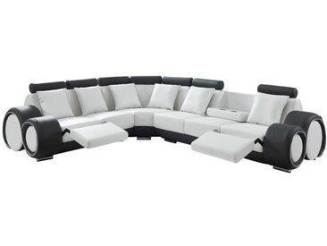 GEOFFREY Canapé de relaxation d'angle panoramique 7 places - Simili blanc et gris anthracite - Contemporain - L 343 x P 136 cm