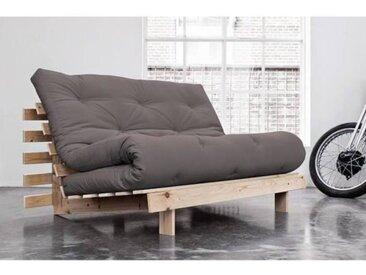 Canapé convertible futon ROOTS pin naturel coloris gray couchage 140*200 cm. gris Tissu Inside75
