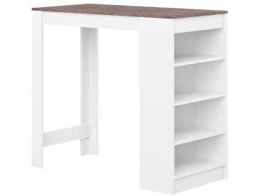 CURRY Table bar de 2 à 4 personnes style contemporain blanc mat et effet béton avec rangement - L 115 x l 50 cm 8080a2198x00