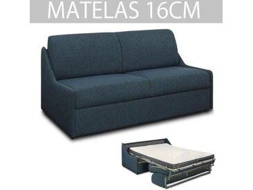 Canapé lit ESPRESSO rapido compact 140cm matelas 16cm tissu tweed bleu nuit bleu tissu Inside75
