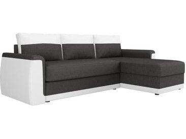 JAMES Canapé d'angle convertible 3 places + Coffre de rangement - Simili blanc et tissu gris anthracite - L 230 x P 142 cm