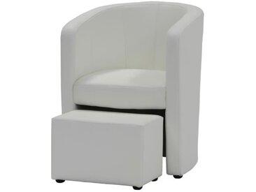 NUNO Fauteuil cabriolet + pouf en simili blanc - L 59 x P 63 x H 77 cm