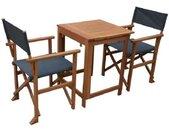 Set bistrot - Ensemble repas de jardin en bois - Table 70x  70 cm + 2 chaises  -  Acacia FSC & Textilene - Gris Anthracite
