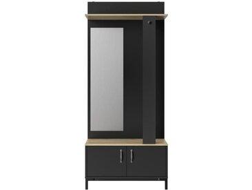STORE Meuble d'entrée 2 portes -  Décor chêne sonoma et noir - L 81 x H 190 x P 37 cm