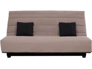Banquette Clic clac Dunlopillo - Tissu Taupe + 2 coussins Noir - L 194 x P 98 x H 102 cm - ALEX