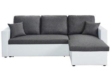 ASPEN Canapé d'angle réversible convertible 3 places + Coffre de rangement - Tissu gris chiné et simili blanc - L 223 x P 150 cm