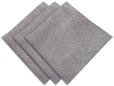 SUCRE D'OCRE Lot de 3 serviettes de table BELLA 45x45 cm - Gris