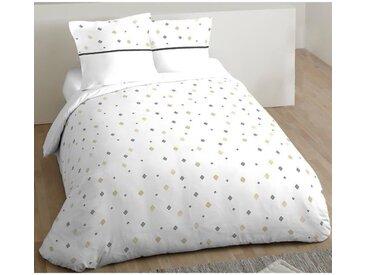COTE DECO Parure de couette Klin 100% coton - 220x240 cm - Blanc