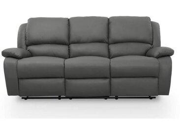 RELAX Canapé de relaxation droit 3 places - Simili gris - Contemporain - L 190 x P 93 cm