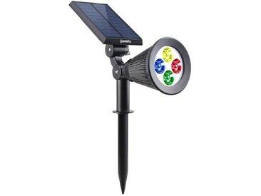 LUMISKY Spot solaire extérieur étanche - 4 LEDs colorées - 200 Lm - Tête pivotante à 90°C