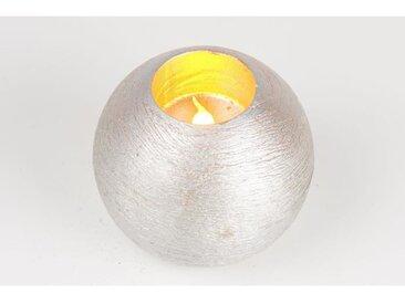 Bougie de Noël LED boule en cire et PVC - Ø 10 cm - Argent