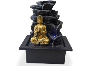 ZEN Fontaine d'intérieur avec statuette Bouddha Shira - Noir