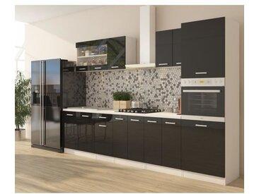 ULTRA Cuisine complète avec colonne four et plan de travail inclus L 300 cm - Noir brillant