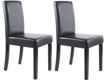 CLARA Lot de 2 Chaises de salle à manger - Simili noir - Classique - L 43 x P 45 cm