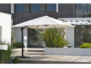 Parasol aluminium déporté carré avec pied excentré 4x3m - Gris