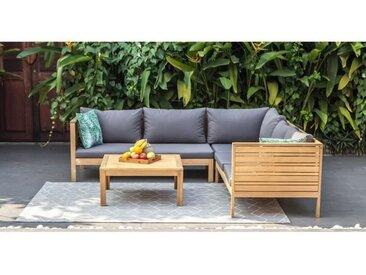 Salon de jardin 5 places en bois d'eucalyptus FSC - HAO