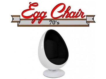 Fauteuil pivotant Oeuf, Egg chair coque blanche / intérieur feutrine noir. Design 70's. noir Velours Inside75