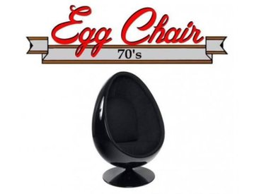 Fauteuil pivotant Oeuf, Egg chair coque noir / intérieur velours noir Design 70's.