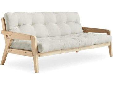 Canapé convertible futon GRAB pin naturel coloris naturel couchage 130 cm. ecru Coton Inside75