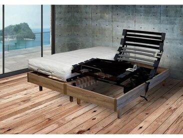 Ensemble relaxation Matelas + Sommier 2x70x190cm MERIDA - Chêne clair - 14cm - Ferme