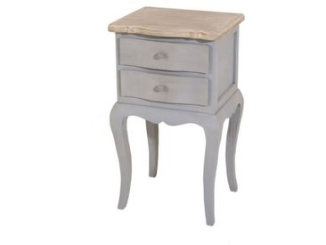 CALIE Table de chevet 2 tiroirs bois gris - L 39 cm