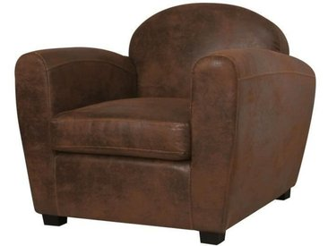 CORONA Fauteuil club - Tissu imitation cuir marron vieilli - Industriel - L 89 x P 90 cm