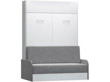Armoire lit escamotable DYNAMO SOFA canapé et accoudoirs microfibre gris couchage 140*200 cm blanc Microfibre Inside75