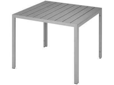 TECTAKE Table de Jardin d'Extérieur Carrée Design en Aluminium 90 cm x 90 cm x 74,5 cm Gris