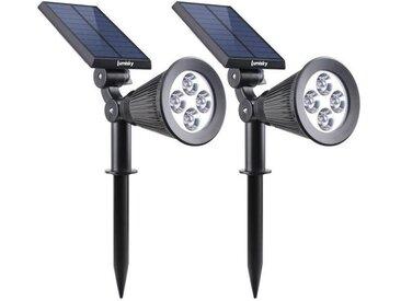 LUMISKY Pack de 2 Spots solaires extérieur étanches - 4 LEDs blanches - 200 Lm - Tête pivotante à 90°C