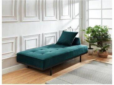 LINDON Méridienne DAYBED 3 places - Velours bleu canard - Style vintage - L190 x P 90 cm