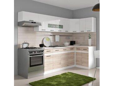 JUNONA Cuisine d'angle complète avec éclairage LED et plan de travail L 3m40 - Blanc brillant et décor chêne San Remo clair