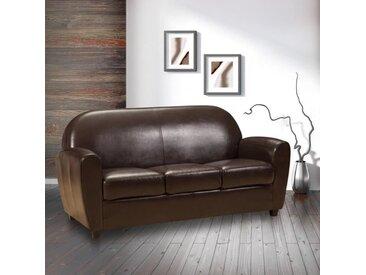 Canapé fixe CLUB BUFALLO 3 places en polyuréthane vintage marron  marron Similicuir Inside75