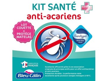 BLEU CALIN Lot de 1 couette chaude Anti-Acariens 220x240cm + 1 protège-matelas Anti-Acariens 140x190cm