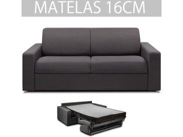 Canapé convertible MIDNIGHT rapido 160 cm matelas 16 cm neo anthracite gris microfibre Inside75