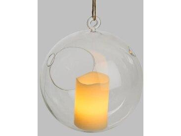 LOTTI Bougie LED dans un verre à suspendre - Forme sphère - Ø 5 x H 7,5 cm - Blanc chaud