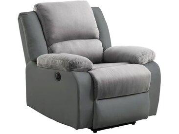 RELAX Fauteuil relaxation Electrique - Simili gris et tissu gris - L 88 x P 93 x H 96 cm