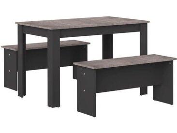 SALT Ensemble Table à manger 4 à 6 personnes + 2 bancs NICE - Contemporain - Noir et effet béton - L 110 x l 70 et L 84,4 x P 33 cm