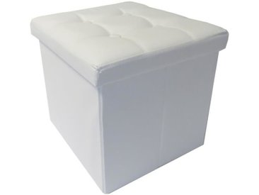 COTTON WOOD Pouf Coffre pliable PU - 38 x 38 x 38 cm - Blanc
