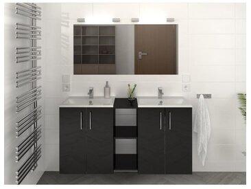 LIMA Ensemble salle de bain double vasque L 120 cm - Noir brillant