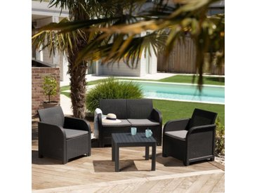 ALLIBERT by KETER - Salon de jardin SanRemo 4 places et table basse - imitation rotin tressé - gris graphite