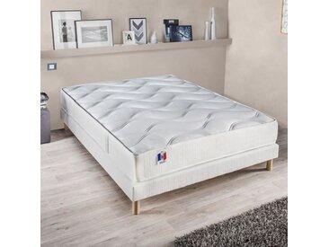 CONFORT DESIGN Ensemble GARI matelas + sommier 140 x 190 cm - 100% Français - Confort ferme - 23 cm - Technologie Polylatex
