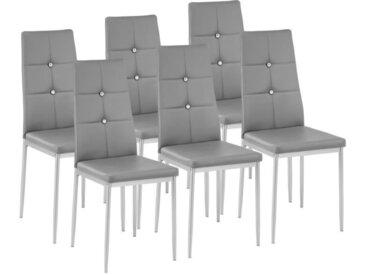 TECTAKE 6 Chaises de Salle à Manger Design Cadre en Acier Dossier à Strass Gris